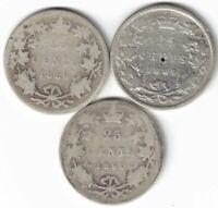 3 X CANADA 25 CENT QUARTERS VICTORIA 925 SILVER COINS 1888 1889 CLOSED 9 1890H