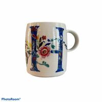 "NEW Anthropologie Starla M. Halfmann ""H"" Mug Cup Floral Letter Initial Monogram"