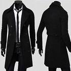 Men's Stylish Double Breasted Winter Trench Coat Windbreak Long Jackets Tops