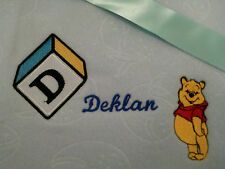 personalized boy / girl  pink or blue bassinet/ cot winnie the pooh blankets