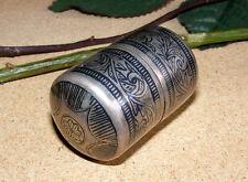 antique islamic Caucasian Silver Niello Pill Snuff Box Tabatiere Tabak Dose 132