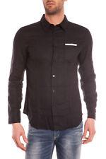 Camicia Daniele Alessandrini Shirt P/E Lino Uomo Nero C6284R3393501 1
