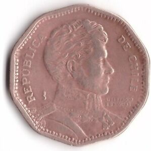 50 Pesos 1991 Chile Coin KM#219.2 Liberator B. O'Higgins
