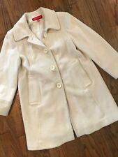 Vtg Anne Klein Ivory Wool Blend Long Trench Dress Coat Overcoat Womens Large