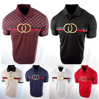 Mens Polo Shirt Shoulder Prints Gold Foil Logo Slim Fit Stretch 3 Button Golf