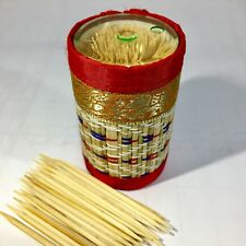 270pcs Disposable Two Heads Wood Bamboo Stick Toothpicks Handmade Otop Case