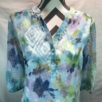 ALFRED DUNNER PASTEL BUTTON SEQUIN BEAD NECK FLORAL LINED BLOUSE PETITE 12P KKK2
