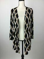 Chicos Travelers Slinky Cardigan Womens 3 Striped Cross Open Drape Front A22-05Z