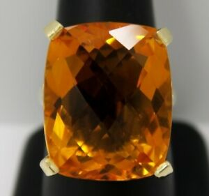 14K Yellow Gold ~ 23.1 Ct. Yellow CITRINE & 0.34 Ct. DIAMOND 11.6 Gram HUGE Ring