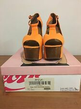 Jeffrey Campbell Foxy Platforms, Orange Leather