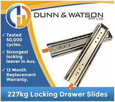 HEAVY DUTY 227kg Locking Drawer Slides / Runners - Lengths 356mm to 1524mm