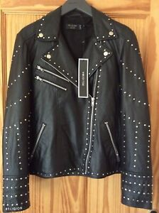 Religion Women's Complex Black Leather Bikers Jacket with Studs Small BRAND NEW