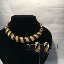 Necklace & Matching Clip Earrings Heavyweight Black Enamel & 'Patterned Gold'