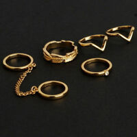 6pcs / Set Women Gold Rings Chain Crystal Above Knuckle Stacking Band Midi Rings