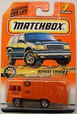 Mattel MATCHBOX 1998 #7 Refuse Truck, Orange Cab & Dumper, Red Windows