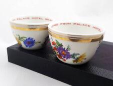 Pair (2) Vintage Palace Hotel Brussels Gold Rimmed Floral Tea Cups Sugar Bowls