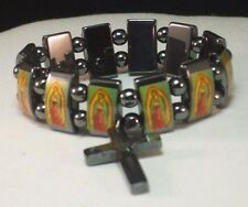 Christian Bracelet Our Lady Virgin GUADALUPE Black Hematite Panels & Crucifix