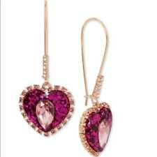 Betsey Johnson Hot Pink Glitter Crystal Halo Heart Drop Earrings M200