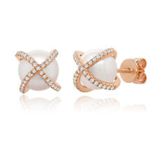 14K Rose Gold Freshwater Pearl Diamond Stud Earrings Natural Crossover X