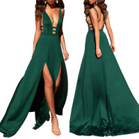Women V Neck Wedding Bridesmaid Long Slit Evening Party Prom Gown Cocktail Dress