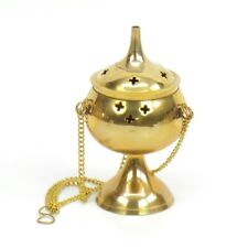 "Brass Hanging Incense Burner with Stand 5"" Censer Resin Church Vestment Altar"
