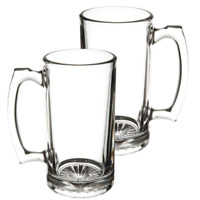 [2 PACK] Beer Mug with Handle 17 oz - Jumbo, Heavy, Drinking Glass, Sports, Bar
