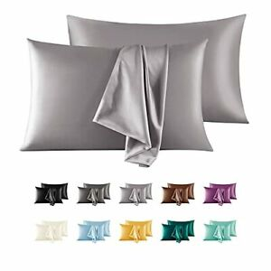 2 Pack Silk Pillowcase, Blissy Satin Pillowcase for Hair and Skin - Silver