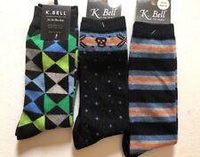 New Lot Of 3 K. Bell Socks Men's Wool Blend Crew Sock Size: 10-13