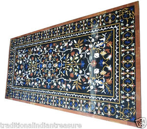6'x4' Marble Dining Side Table Top Rare Inlay Marquetry Floral Decorative Art