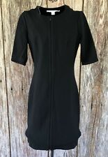 Diane Von Furstenberg Black LBD Short Sleeve Dress Size 4 Top Bottom Zipper