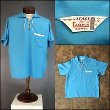 Vtg 50s 60s Rayon Turquoise Gab Rockabilly Lace Up CAMPUS Italy Gaucho Pull On L