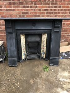 Victorian large black slate fire surround