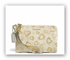 NWT Coach Hearts Print Small Canvas Wristlet 51230B Brass/Light Khaki/Gold