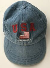 Polo- Ralph Lauren USA Vintage Hat Toddler  Denim One Size 100% Cotton