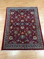 """3'3"""" x 4'4"""" Indian Floral Oriental Rug - 1950 - Hand Made - 100% Wool"""