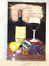 LARGE TUBE LINED CERAMIC TILE ADVERTIZING 1992 ROCHE MAZ WINE WITH FRUIT & BOOKS
