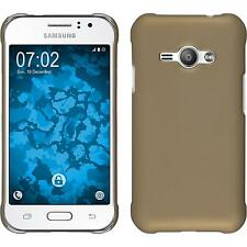 Hardcase Samsung Galaxy J1 ACE rubberized gold Cover + protective foils
