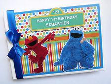 Personalizado Sesame Street Elmo Y Cookie Monster primero/1ST cumpleaños del libro de visitas