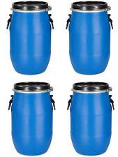 4 x 30 Liter Weithalsfass Weithalstonne Deckelfass Kunststofftonne dicht blau