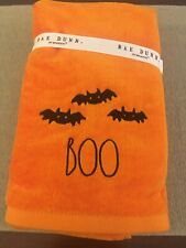 🦇 New Rae Dunn Set of 2 Boo Orange Cotton Kitchen Hand Towels 2020