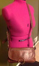 Liz Claiborne Axcess Vintage Brown Handbag Purse Satchel Crossover Bag Messenger