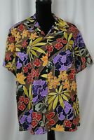 Notations Women's Button Up Short Sleeve Blouse Size XL Floral Casual Cute Fun