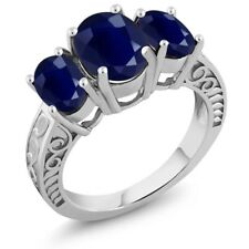 4.54 Ct Oval Blue Sapphire 925 Sterling Silver Ring