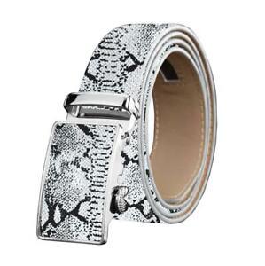 Men's Smart Ratchet No Holes Automatic Buckle Belt in Snake Skin - White Color