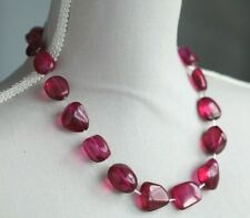 """PINK COLOUR COATED QUARTZ NECKLACE 20"""" LENGTH ~ STERLING SILVER CLASP"""