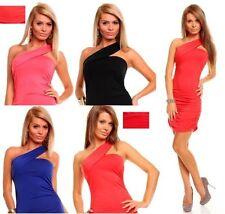 Viscose One Shoulder No Pattern Regular Dresses for Women
