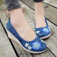 Womens Retro Canvas Floral Decor Shoes Wedge Heel Slip On Casual Pump Leisure Ch