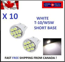 10X White Xenon LED T10 8SMD/5050/194Bulbs Light 68 W5W license Plate Short Base