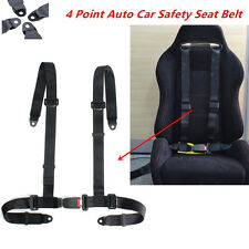 Universal Vehicle Racing 4 Point Auto Car Safety Seat Belt Buckle Harness Black