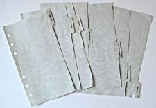 Filofax Planner Blank Index Tabbed Pages 4 or 6 Ring 4in x 6 3/4in Set of 6 Used